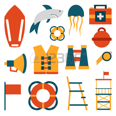 450x450 Vector Flat Cartoon Lifeguard Beach Objects Buoy, Shark, Medusa