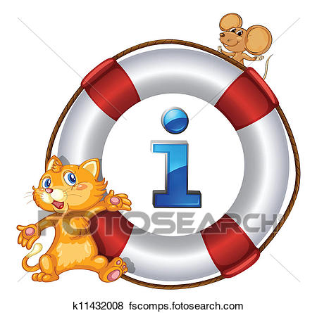 450x445 Clip Art Of Cat, Mouse And Lifesaver Floating K11432008