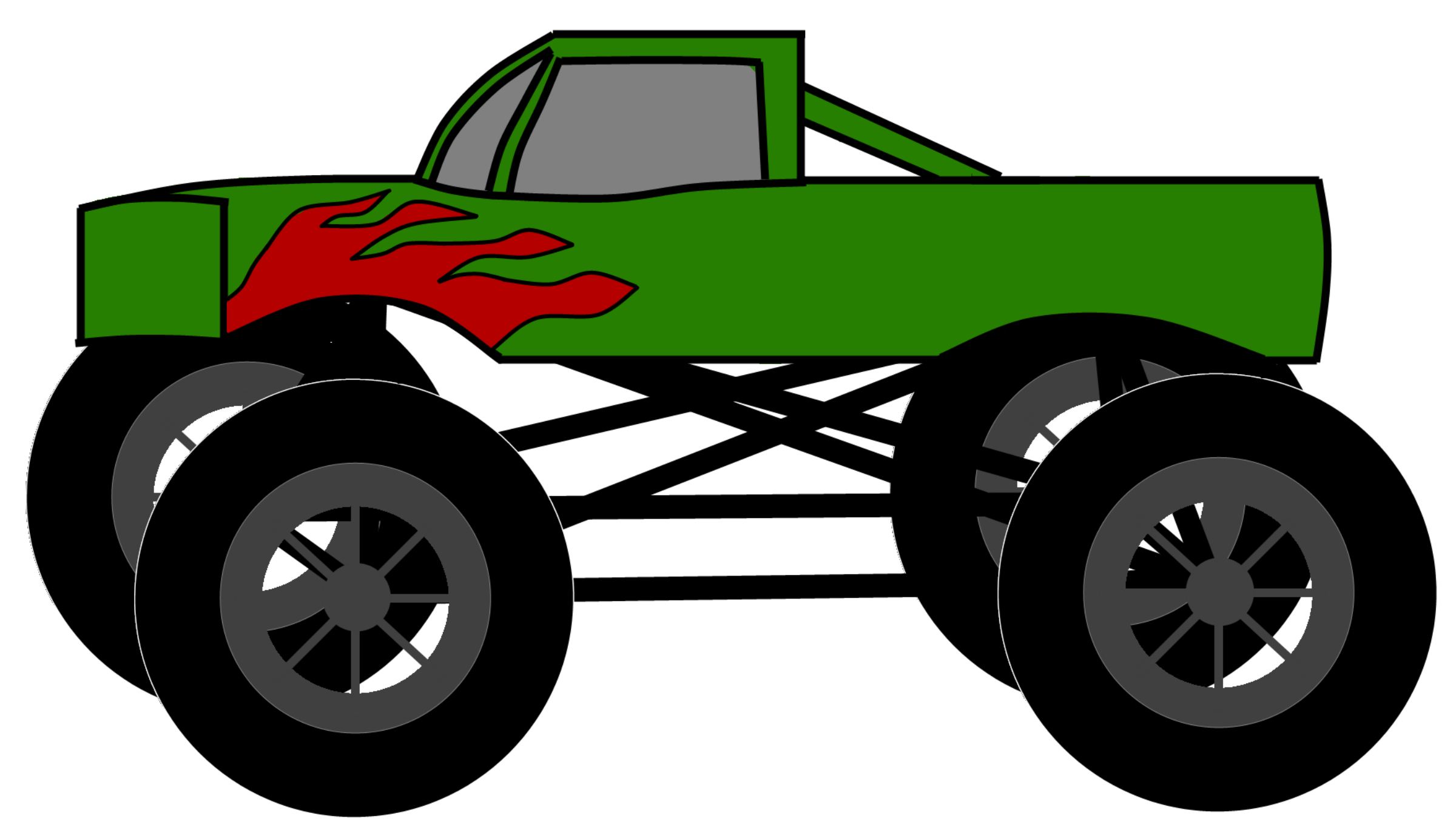 2400x1380 Orange Clipart Monster Truck