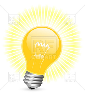 358x400 Light Bulb With Beams Royalty Free Vector Clip Art Image