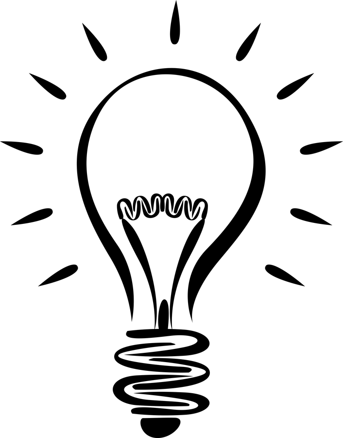 706x900 Led Light Bulb Clipart Black And White