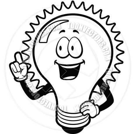 460x460 Light Bulb Idea (Black And White Line Art) By Cory Thoman Toon