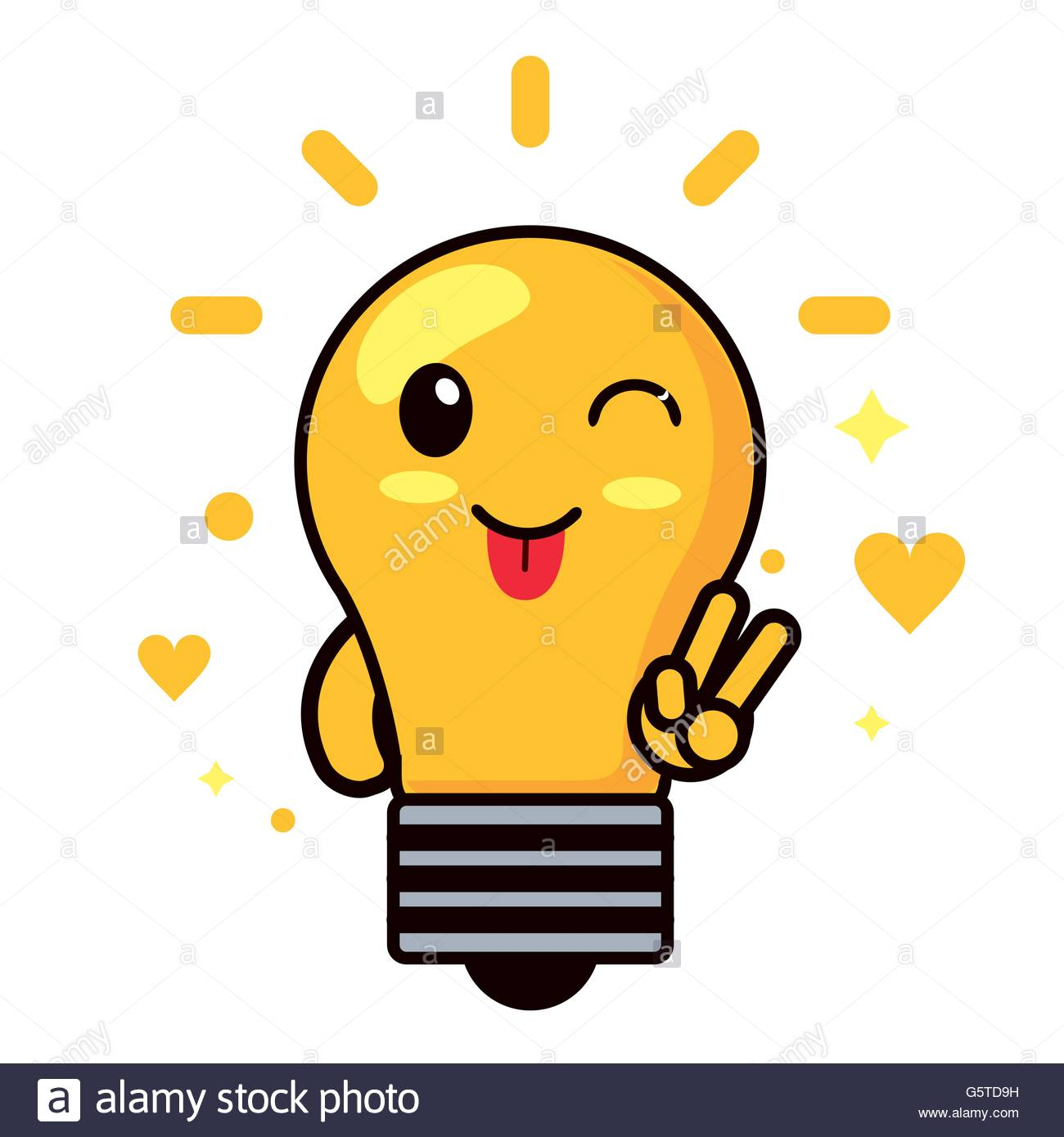 1300x1390 Kawaii Icon. Light Bulb Cartoon Design. Vector Graphic Stock