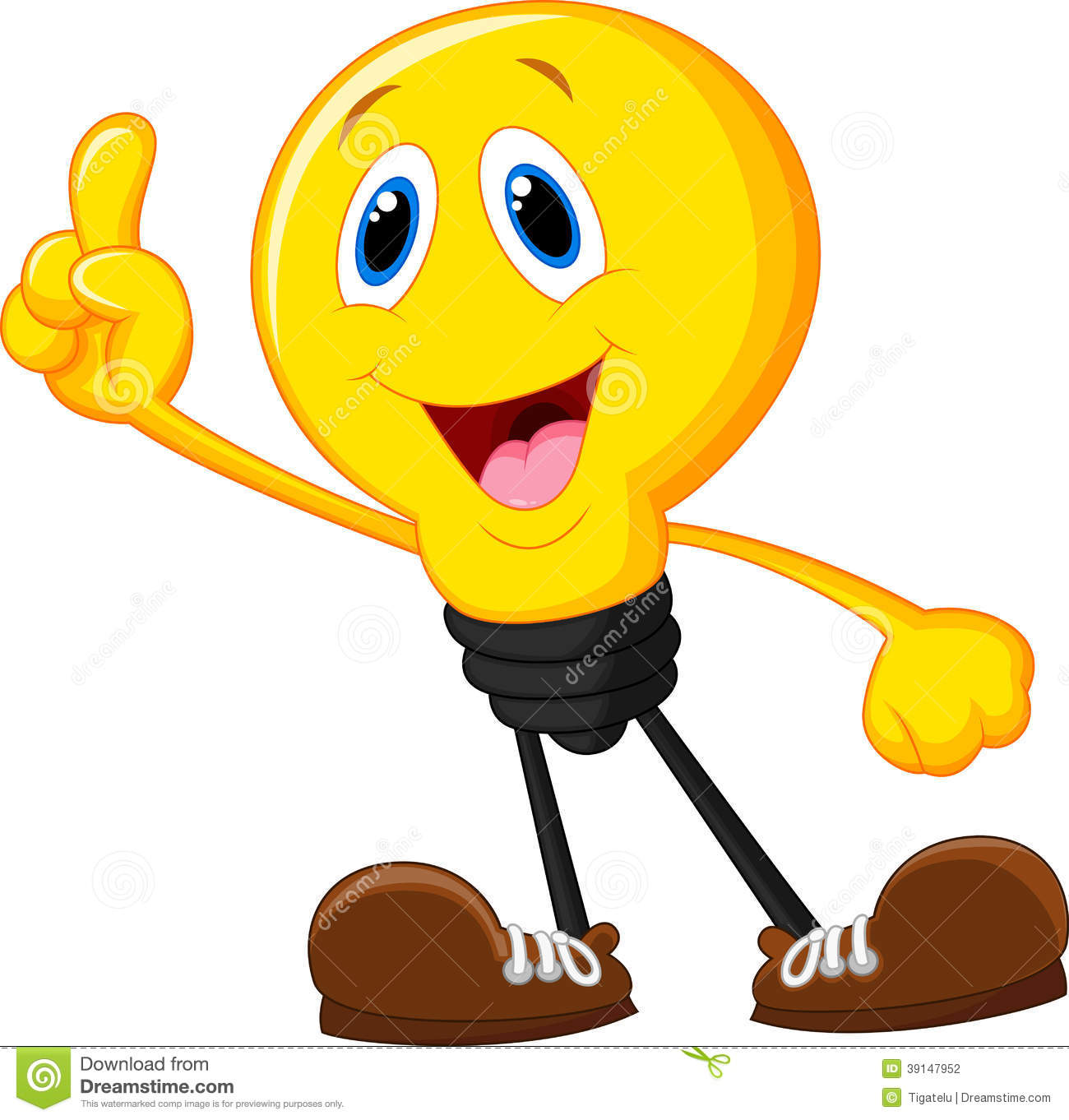 1300x1362 Cartoon Light Bulb With Smiling Face And Hands With Bright Idea