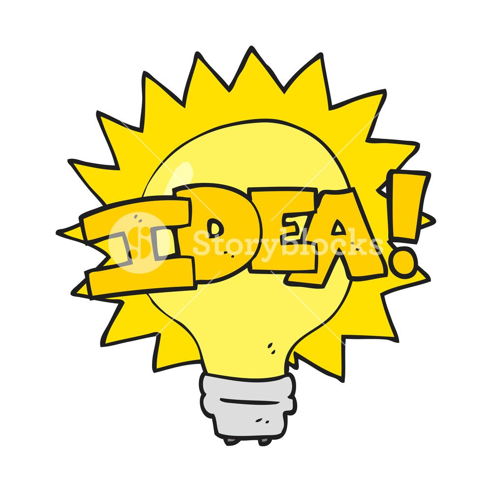 1000x1000 Freehand Drawn Cartoon Idea Light Bulb Symbol Royalty Free Stock
