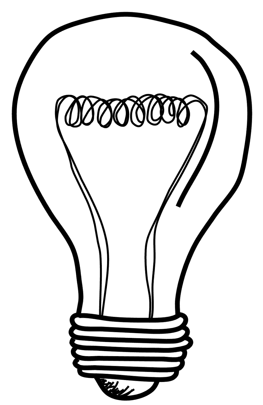 1041x1600 Black And White Light Bulbs Clipart