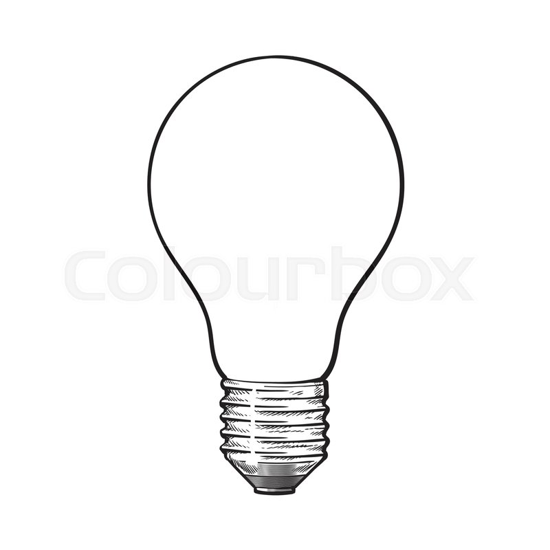 800x800 Matted, Opaque Tungsten Light Bulb, Side View, Sketch Style Vector