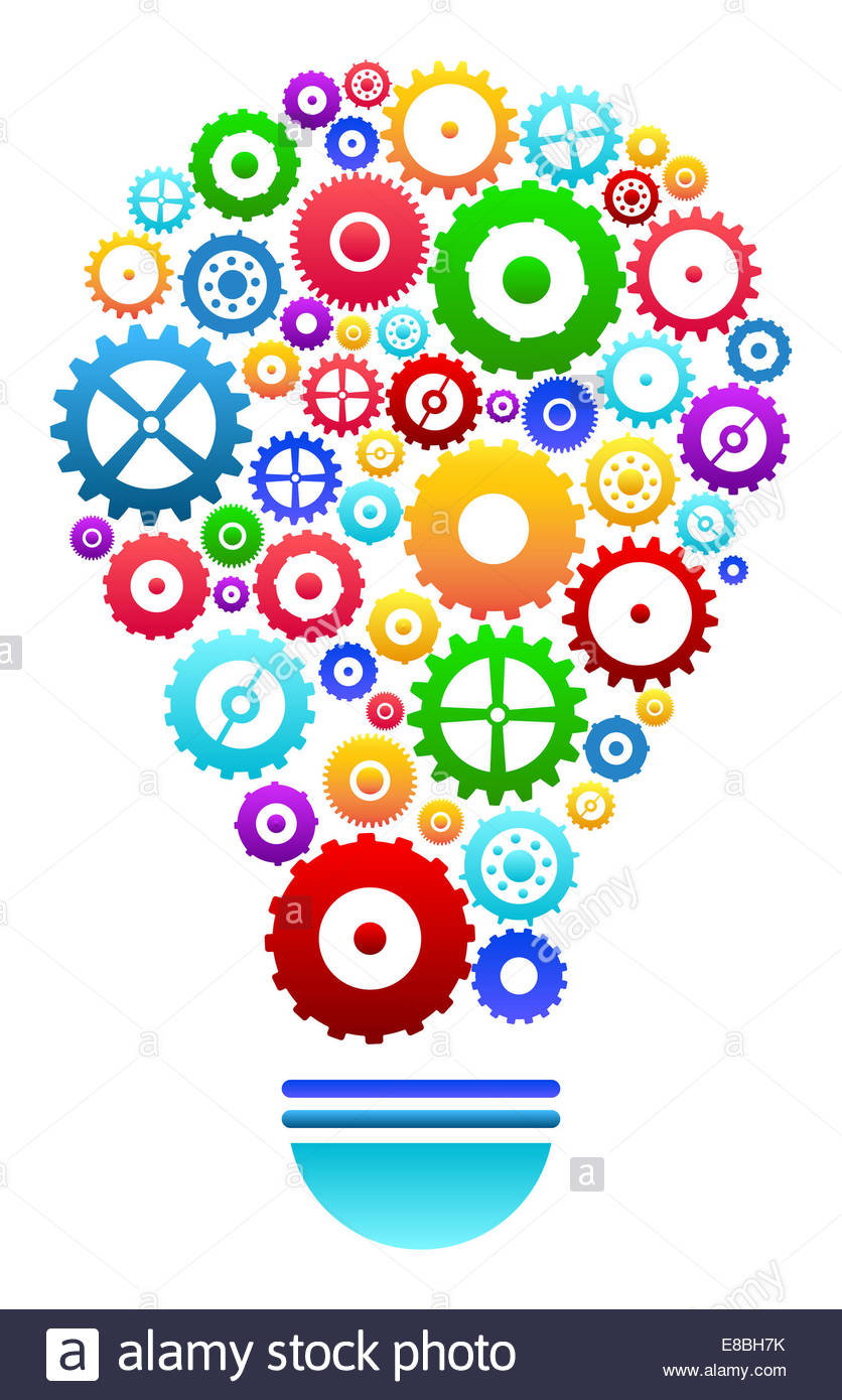 836x1390 Idea Light Bulb With Gears And Cog Wheels Concept Stock Photo