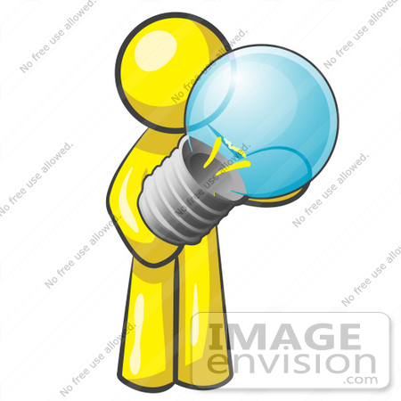 450x450 Clip Art Graphic Of A Yellow Guy Character Holding A Light Bulb