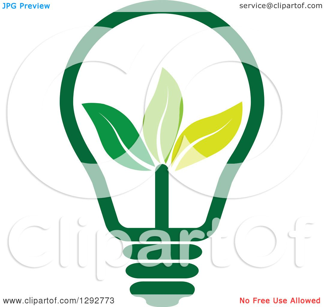 1080x1024 Clipart Of A Green Energy Light Bulb With Leaves