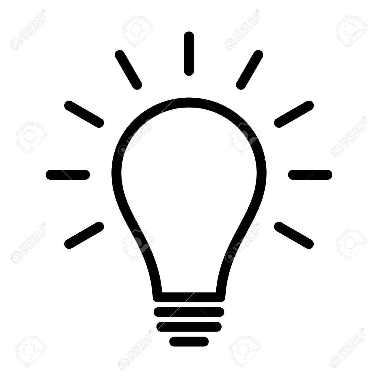 1300x1300 Incandescent Light Bulb Lightbulb Turned On Or Idea Line Art