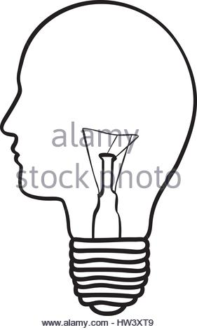 281x470 Silhouette Of Human Face With Light Bulb With Sparks Of Light