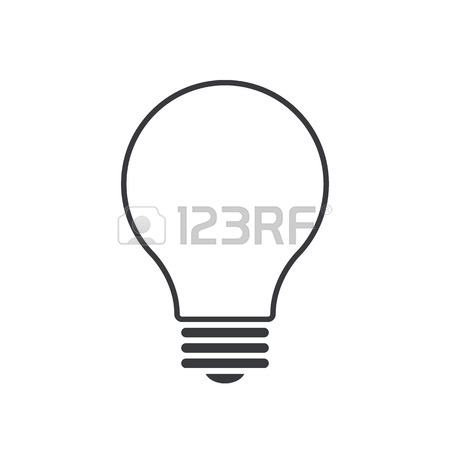 450x450 Light Bulb Outline Icon, Modern Minimal Flat Design Style, Thin