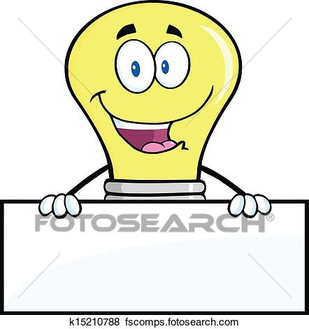 442x470 Clip Art Of Light Bulb Over Blank Sign K15210788