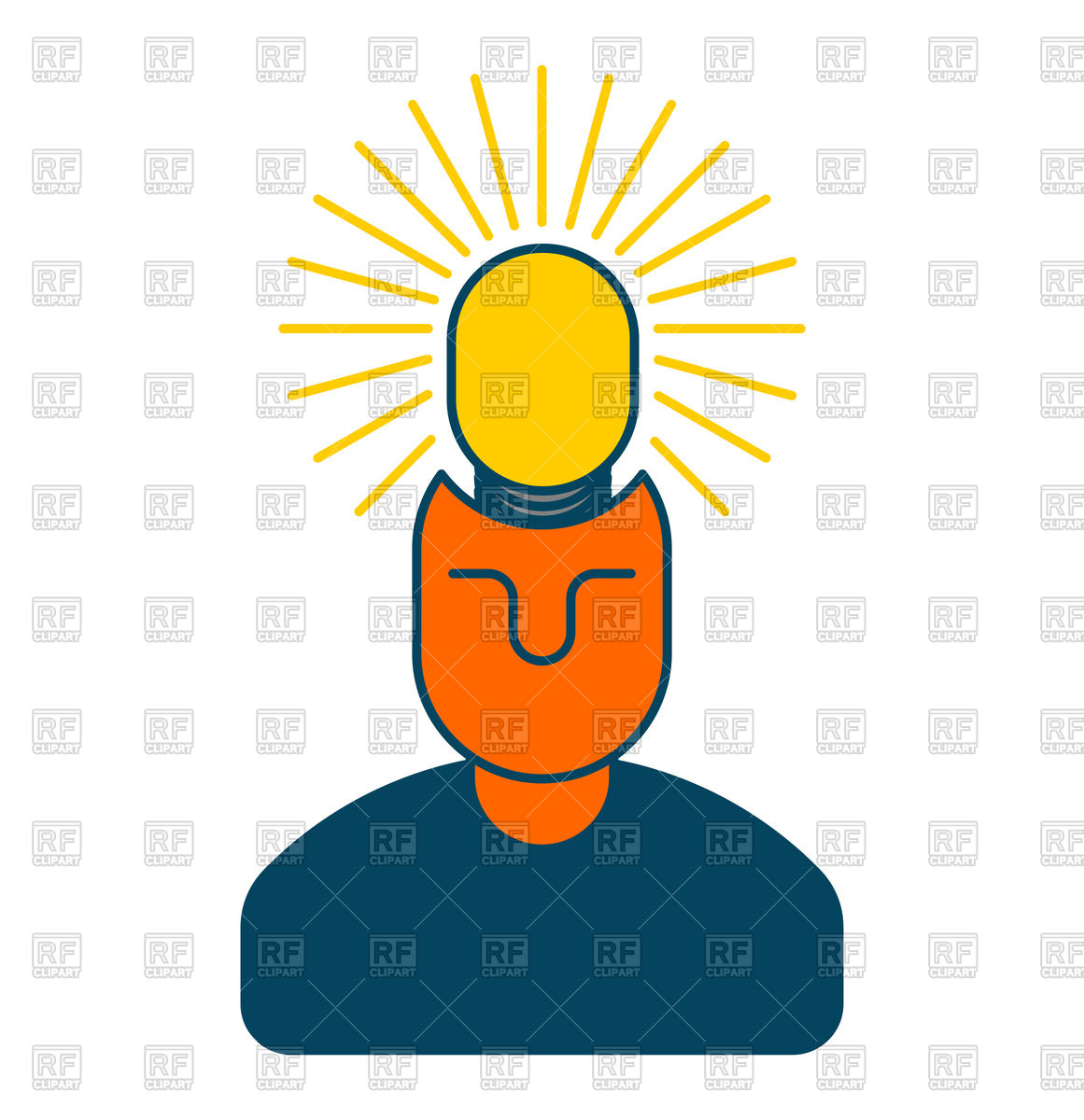 1161x1200 Creative Idea. Smart Man With Light Bulb In Head. Royalty Free