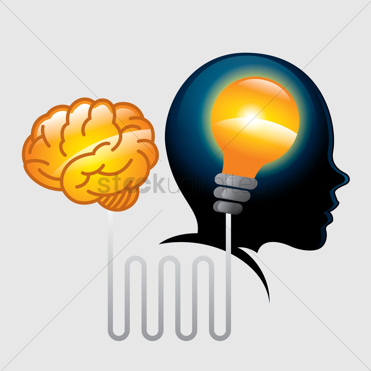 1300x1300 Free Brain Connected To A Light Bulb In A Head Vector Image