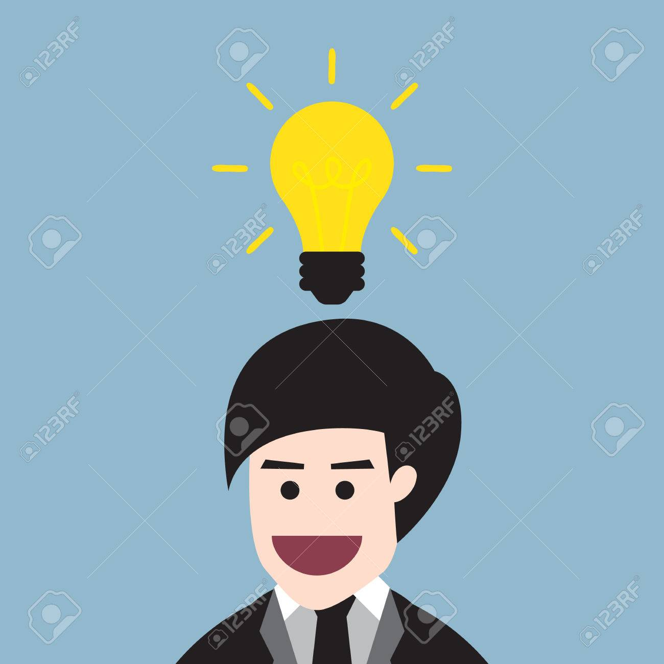 1300x1300 Light Bulb Idea Head. Little Boy Getting Idea With Lightbulb Over