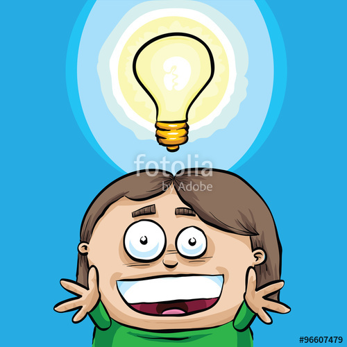 500x500 A Happy Cartoon Girl With A Big Smile And Lightbulb Over Her Head