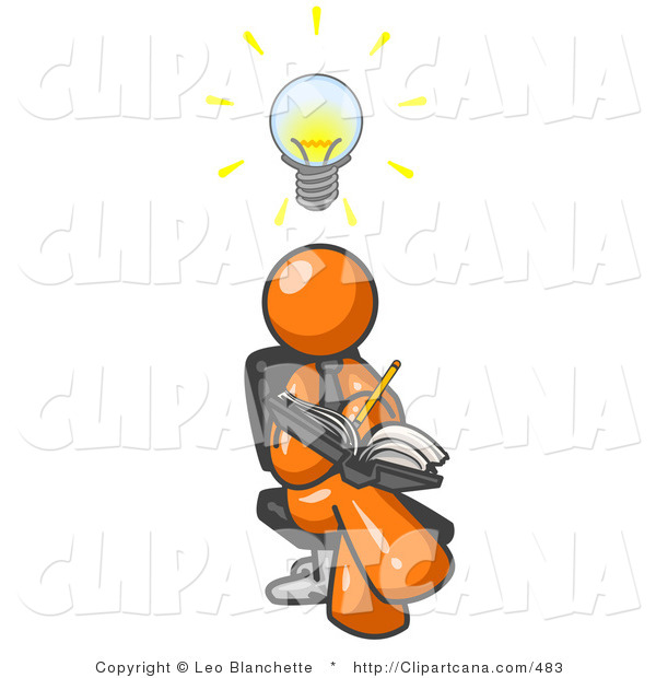 600x620 Vector Clip Art Of An Intelligent Orange Man Seated With His Legs