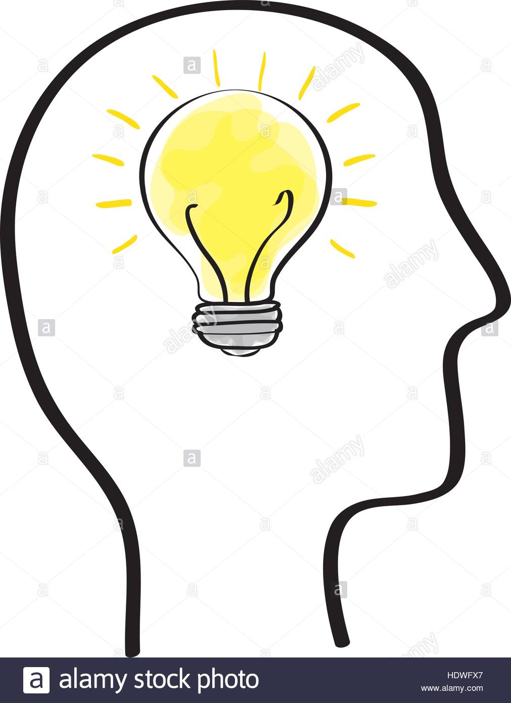 1011x1390 Human Head With Bulb Inside Icon Vector Illustration Graphic
