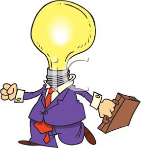 287x300 Busienssman With A Light Bulb Head Clipart Image