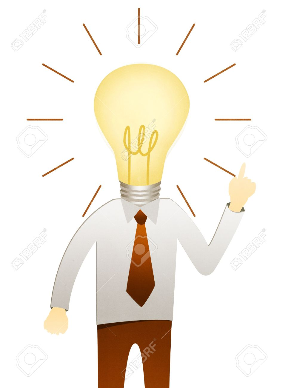 975x1300 Business Man With Head Idea Lightbulb Stock Photo, Picture