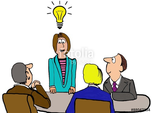 500x373 Business Cartoon Showing People In A Meeting And A Businesswoman