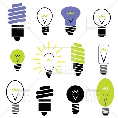 400x400 Energy Saving And Filament Light Bulbs Icons Royalty Free Vector