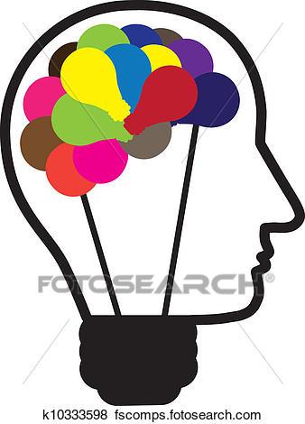 338x470 Clip Art Of Illustration Of Idea Light Bulb As Human Head Creating