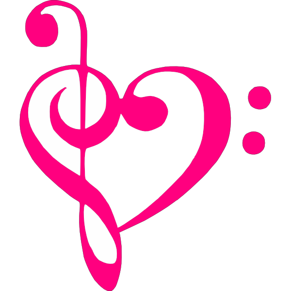 600x600 Pink Treble Bass Clef Heart Clip Art