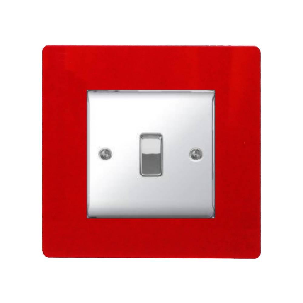 1000x1000 Single Light Switch Socket Finger Plate Coloured Acrylic Surround