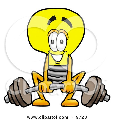 450x470 Clipart Picture of a Light Bulb Mascot Cartoon Character Lifting a