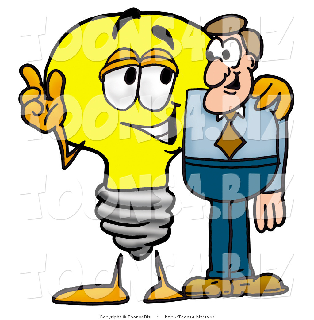 1024x1044 Illustration Of A Cartoon Light Bulb Mascot Talking To A Business