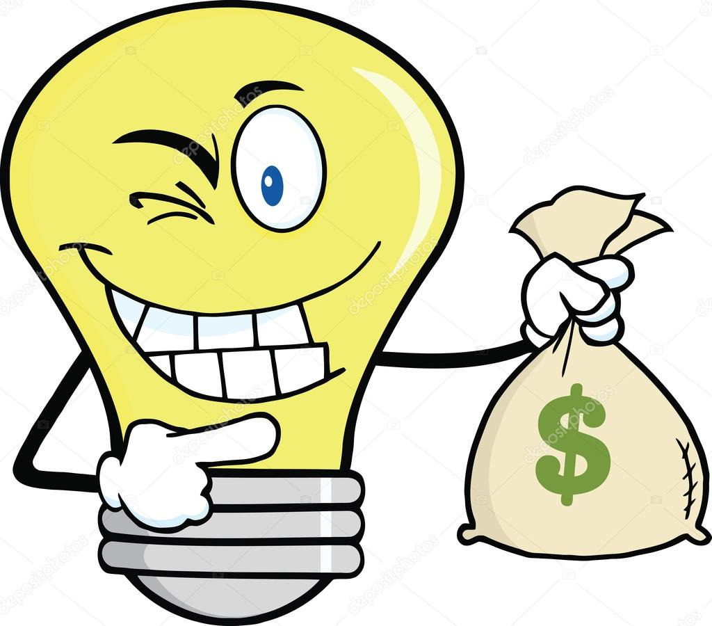 1024x900 Light Bulb Cartoon Character Holding A Bag Of Money Stock Photo