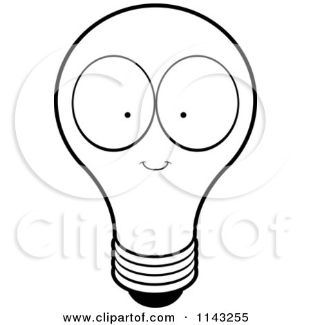 450x470 Cartoon Clipart Of A Black And White Lightbulb Character