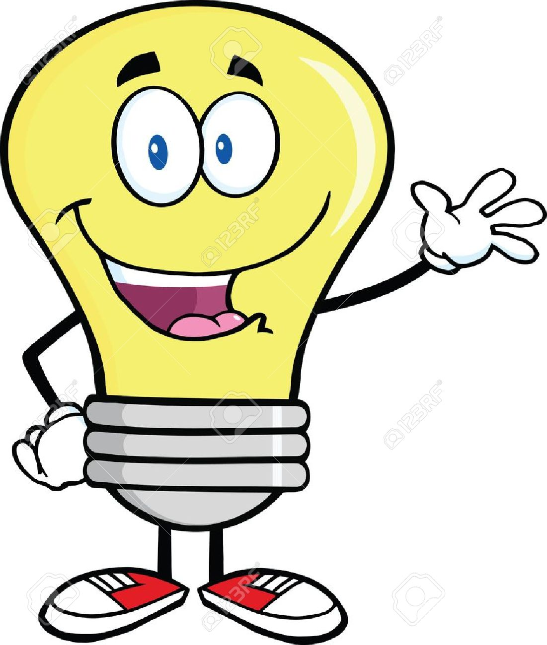 1101x1300 Light Bulb Cartoon Character Waving For Greeting Royalty Free