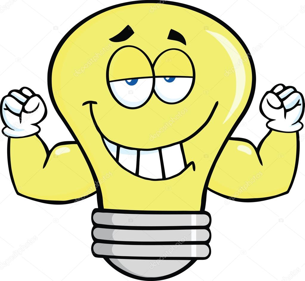 1023x943 Light Bulb Cartoon Mascot Character With Muscle Arms — Stock Photo
