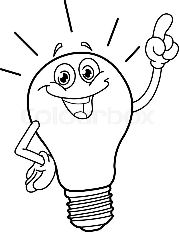 619x800 Outlined cartoon light bulb. Vector illustration coloring page
