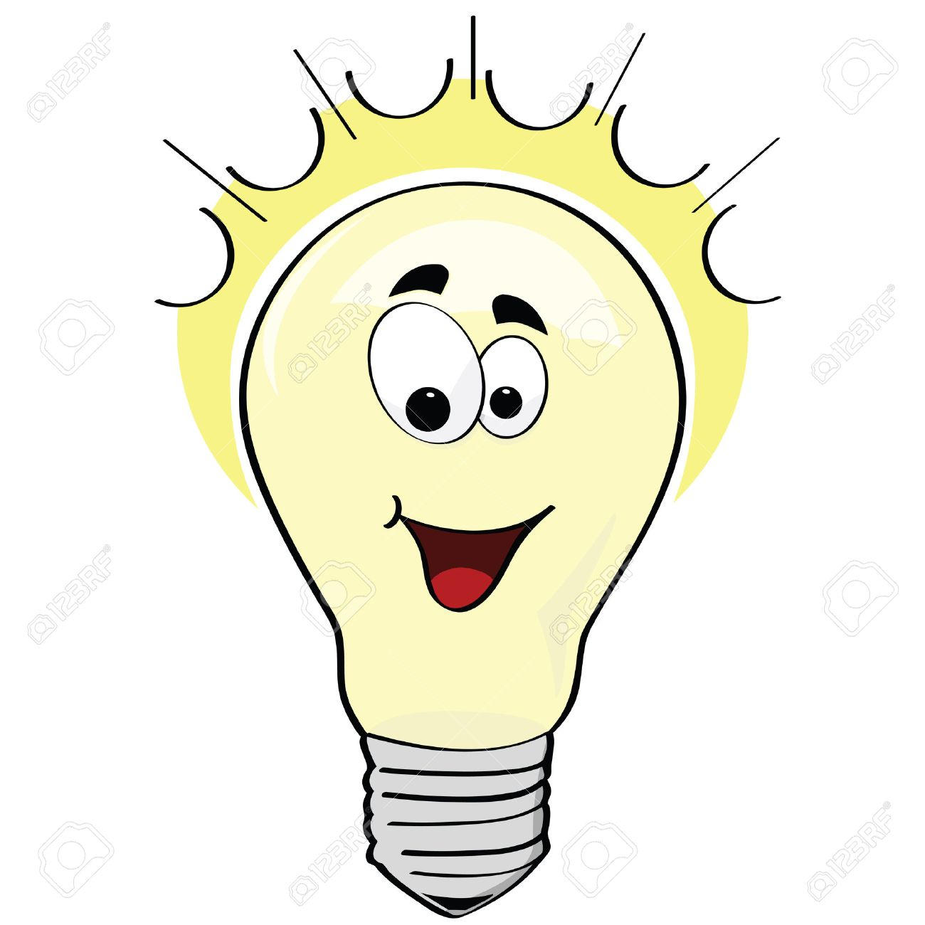 1300x1300 Cartoon Illustration Of A Happy Lightbulb, Or A Happy Idea Royalty