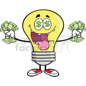 300x300 Royalty Free 6052 Royalty Free Clip Art Money Loving Light Bulb