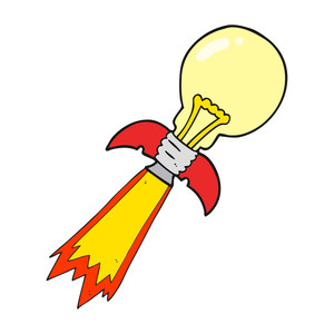 300x300 freehand drawn cartoon lightbulb rocket ship Royalty Free Stock