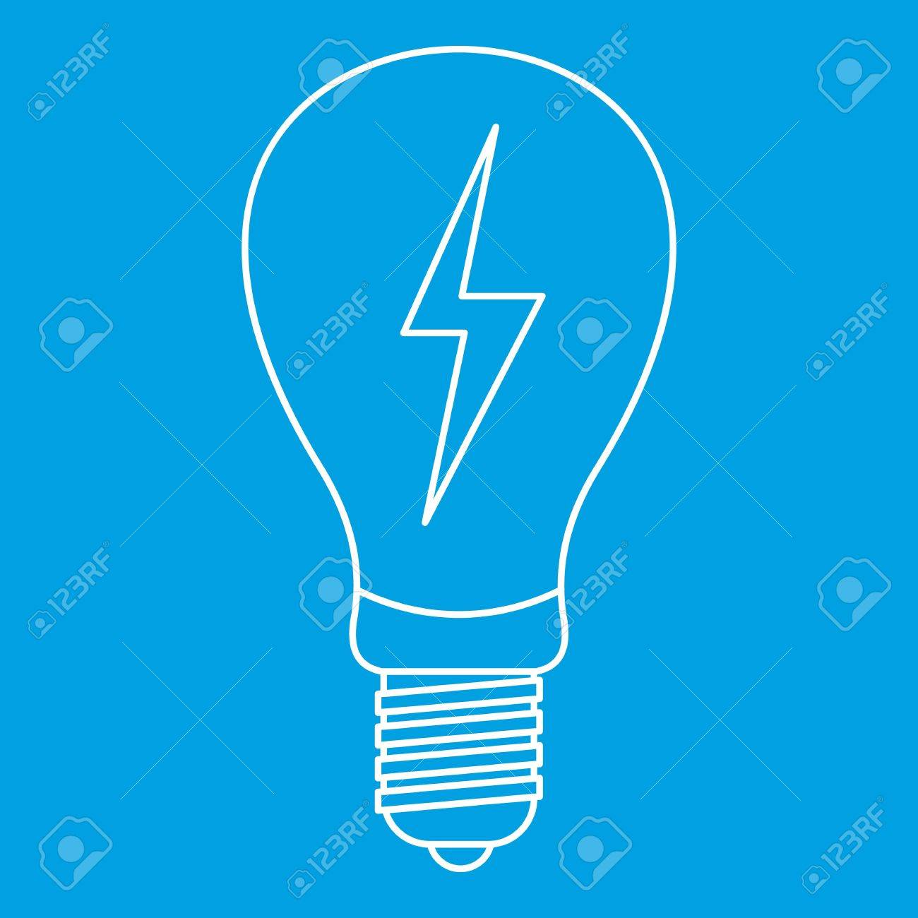 1300x1300 Light Bulb With Lightning Inside Icon Blue Outline Style Isolated