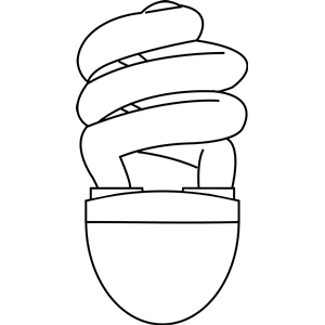 300x300 Cfl (Compact Fluorescent) Light Bulb Outline Clipart, Cliparts