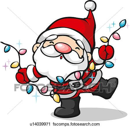 450x441 Clipart Of Santa Claus With Christmas Light Bulbs U14039971