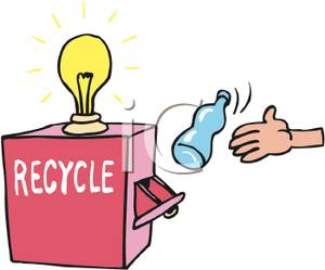 300x249 Recycle Box With A Light Bulb On Top Clip Art Image