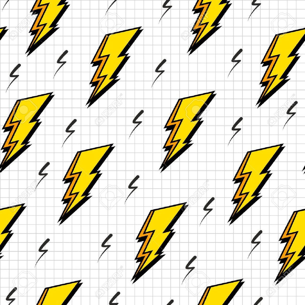 1300x1300 Retro Vintage 80s Lightning Bolts Fashion Style Seamless Pattern