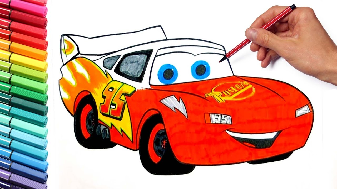 1280x720 Coloring Pages Lightning Mcqueen Cars 3 Disney Learning Colors