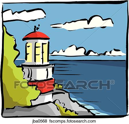 450x431 Stock Illustration Of Lighthouse On A Cliff Jba0568