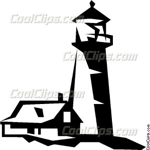 299x300 House Beside A Lighthouse Vector Clip Art