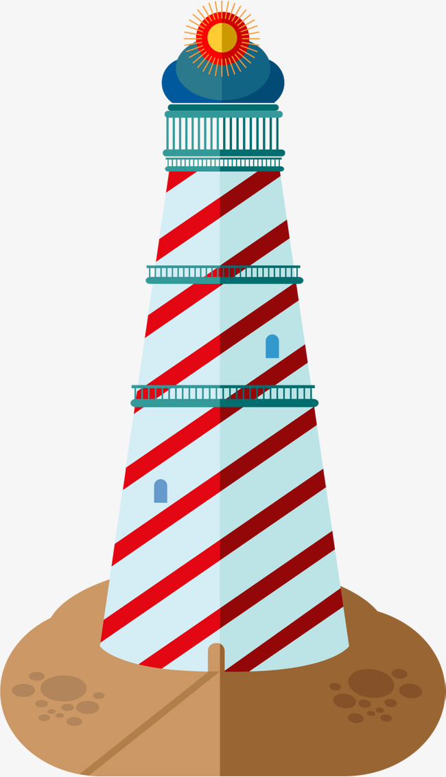 650x1131 Cartoon Lighthouse Building, Tower, Seaside Architecture, Sea